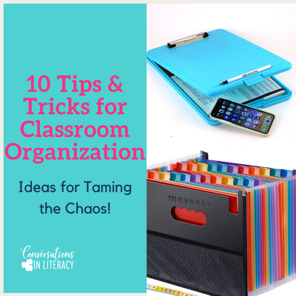 10 Easy Tips and Tricks to help you get your elementary classroom organized and decluttered! #kindergarten #firstgrade #secondgrade #thirdgrade #fourthgrade #fifthgrade #conversationsinliteracy #classroom #elementary #classroomorganization kindergarten, 1st grade, 2nd grade, 3rd grade, 4th grade, 5th grade