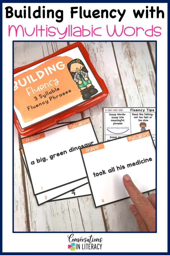 Orange 4 x 6 photo box with fluency phrases task cards and hand pointing by Conversations in Literacy
