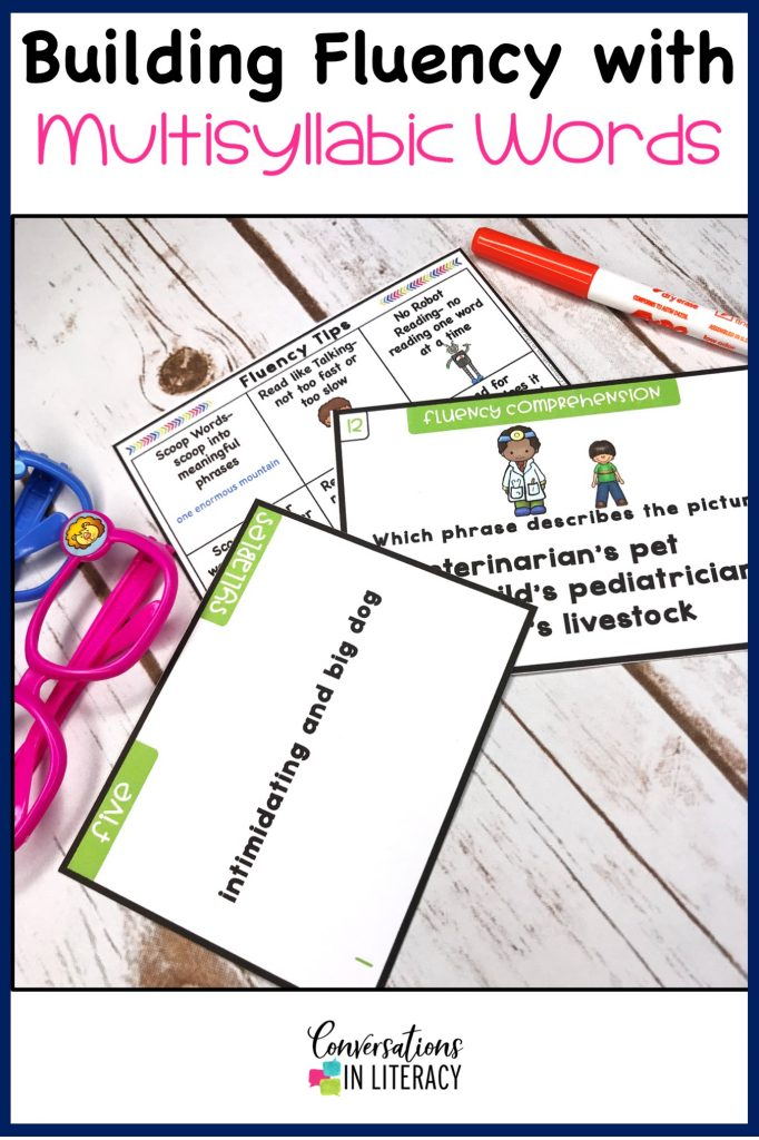 Fluency Phrases and Comprehension Task Cards with marker by Conversations in Literacy