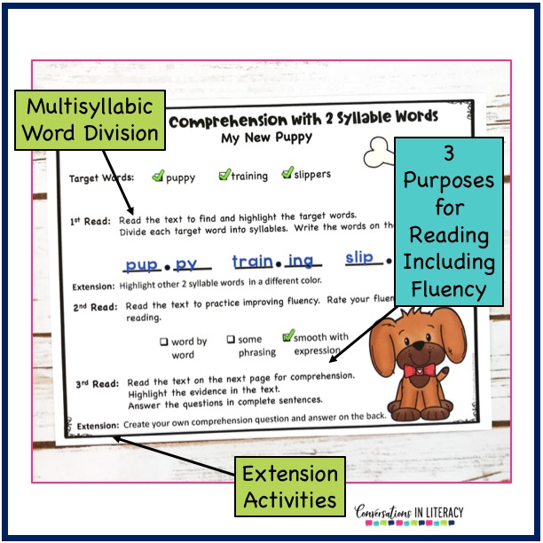 comprehension worksheet about a new puppy by conversations in literacy