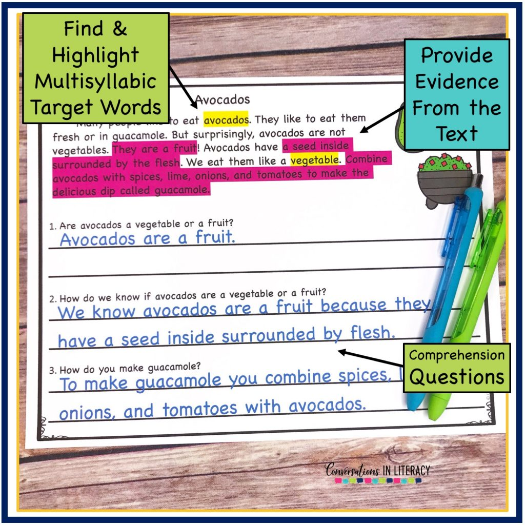 Comprehension worksheet about avocados with a green pen and a blue pin by Conversations in Literacy
