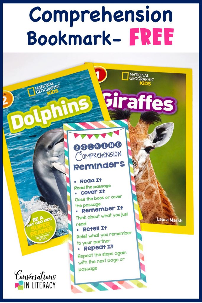 two nonfiction books with a free comprehension strategy bookmark by Conversations in Literacy