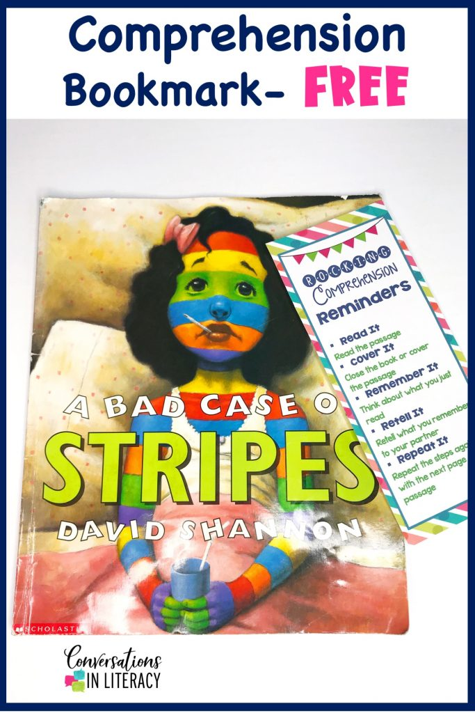 A Bad Case of Stripes book with a free comprehension strategy bookmark by Conversations in Literacy