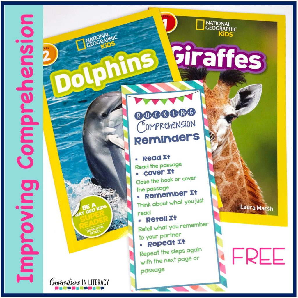 Two nonfiction books and a free comprehension strategy bookmark by Conversations in Literacy