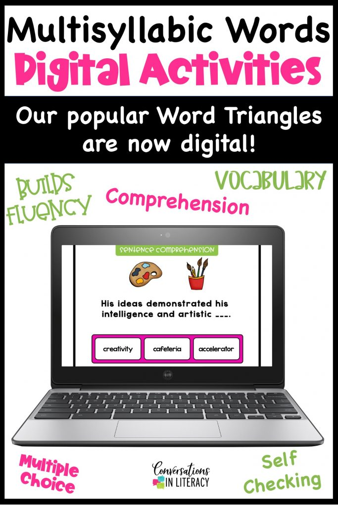 Digital learning cards on a computer by Conversations in Literacy