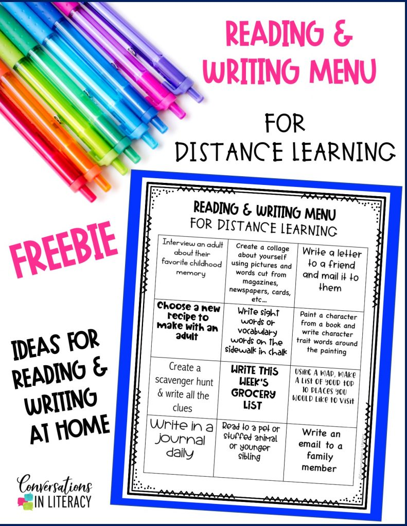 colored ink pens with free reading and writing menu by Conversations in Literacy