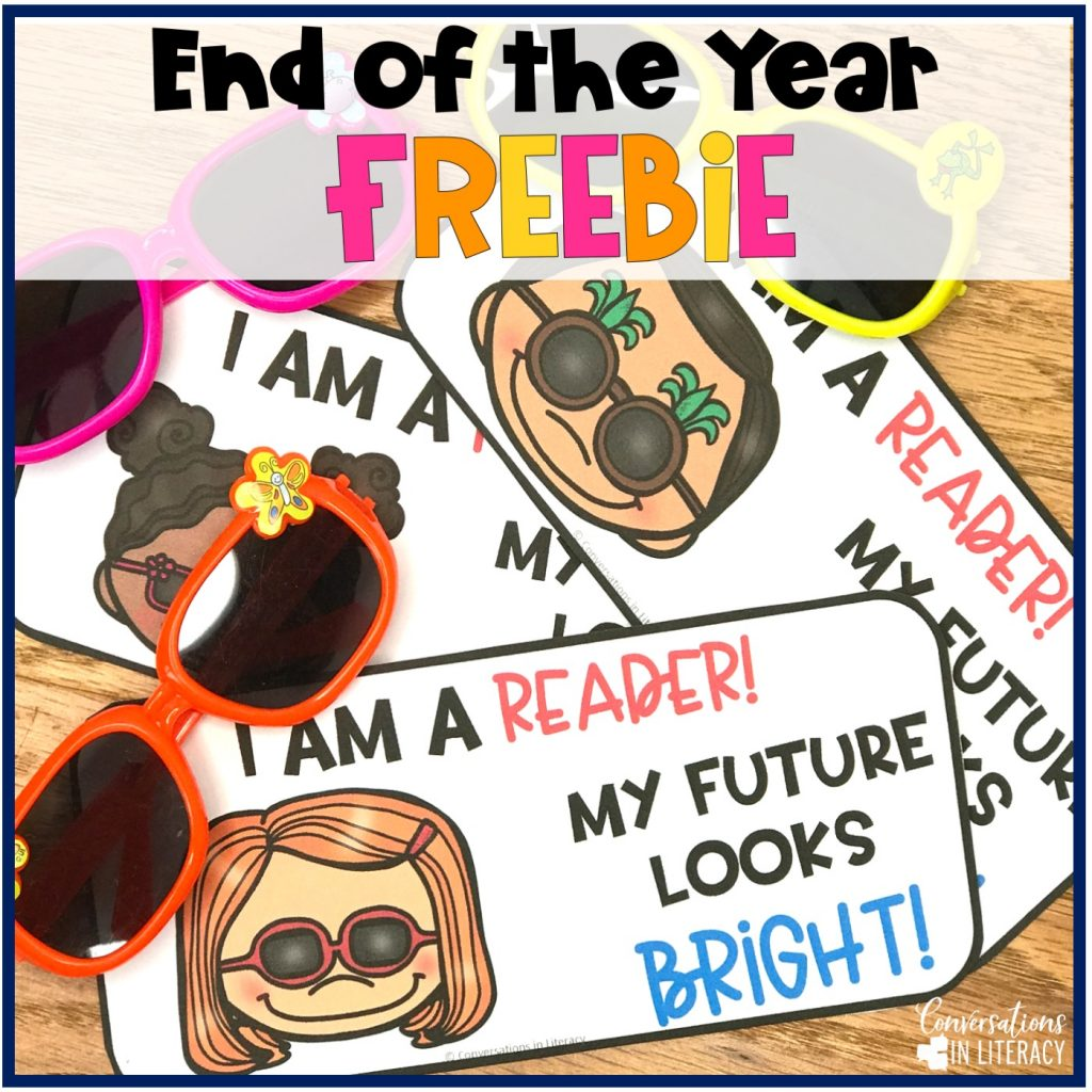 pink, orange and yellow sunglasses with My Future Looks Bright FREE Printable for End of the Year student gifts by Conversations in Literacy