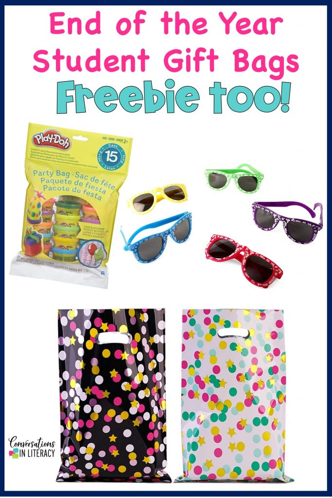 Play Doh, sunglasses and gift bags for end of the year student gifts by Conversations in Literacy