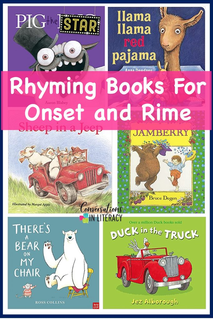Rhyming Books for teaching Onset and Rime by Conversations in Literacy