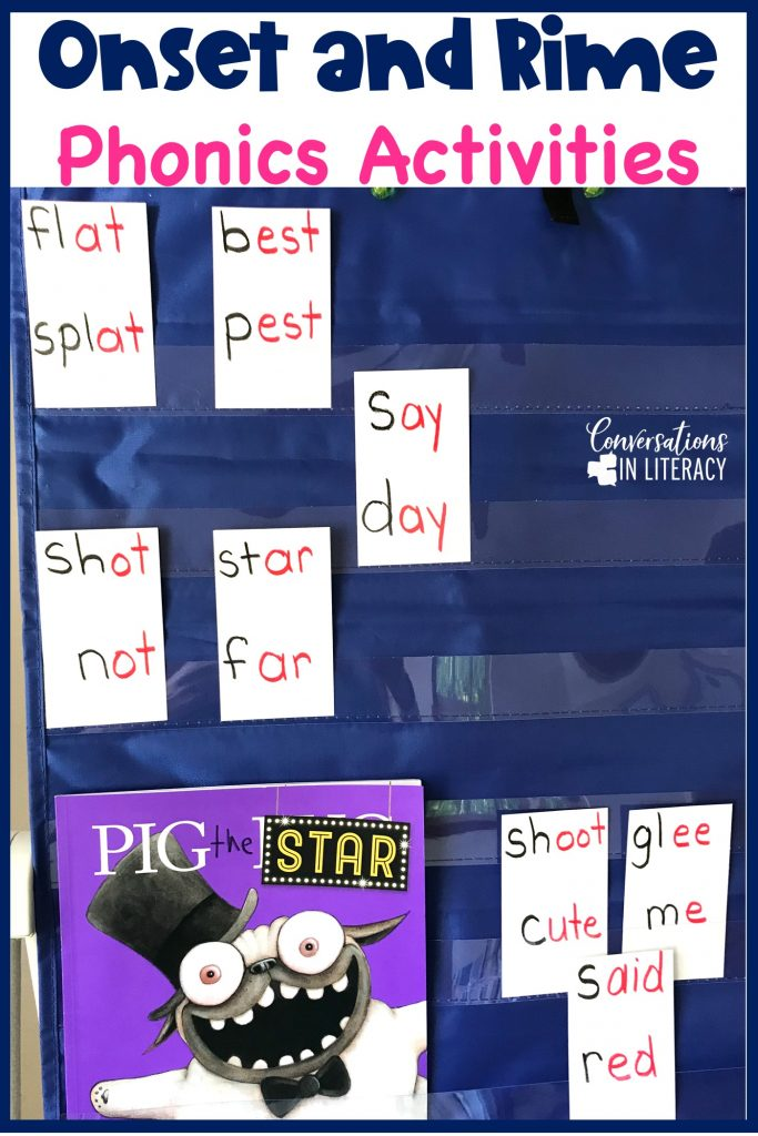 Pig the Star book and rhyming words on index cards in a blue pocket chart by Conversations in Literacy