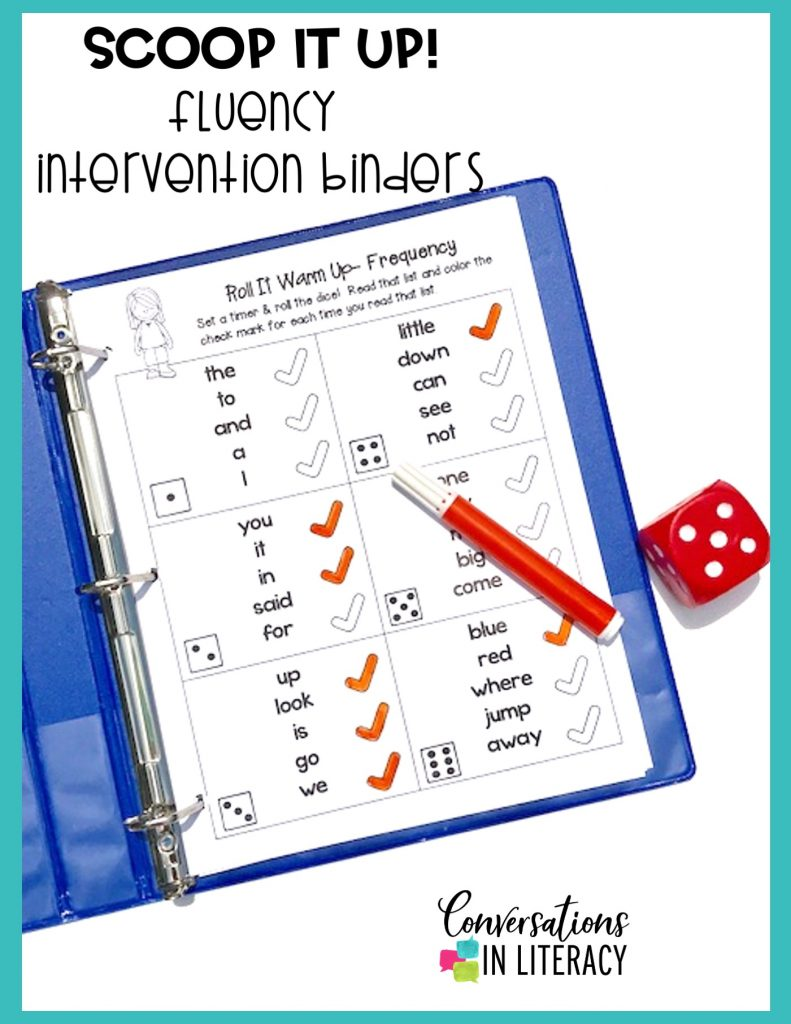 sight word games in blue notebook with red marker and red dice by Conversations in Literacy
