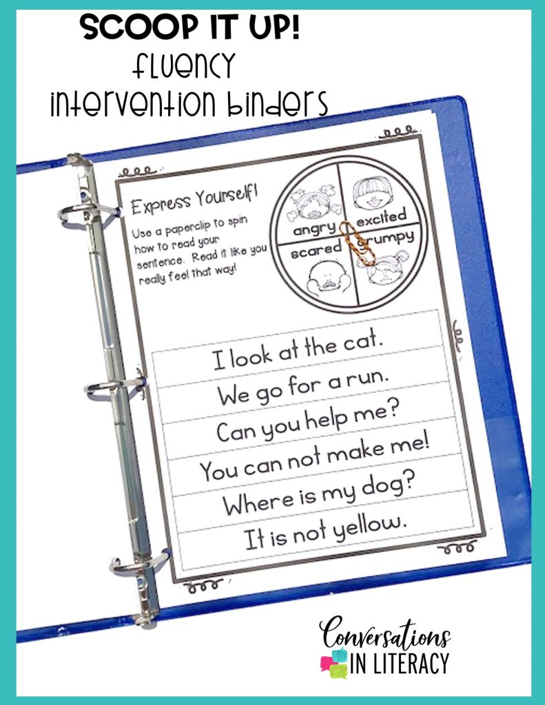 fluency activities in blue notebook by Conversations in Literacy