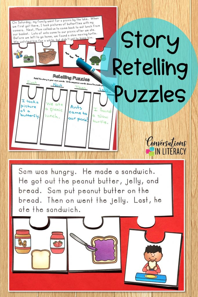 short story with pictures on puzzle pieces for retelling stories by Conversations in Literacy
