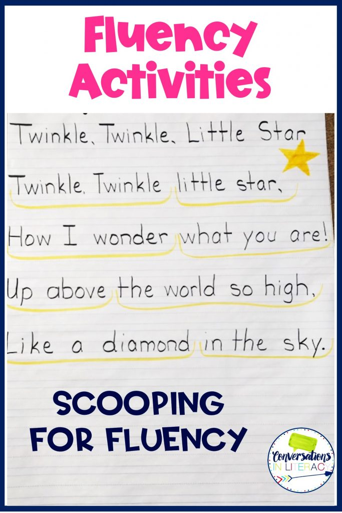 Twinkle, Twinkle Little Star written on chart paper by Conversations in Literacy