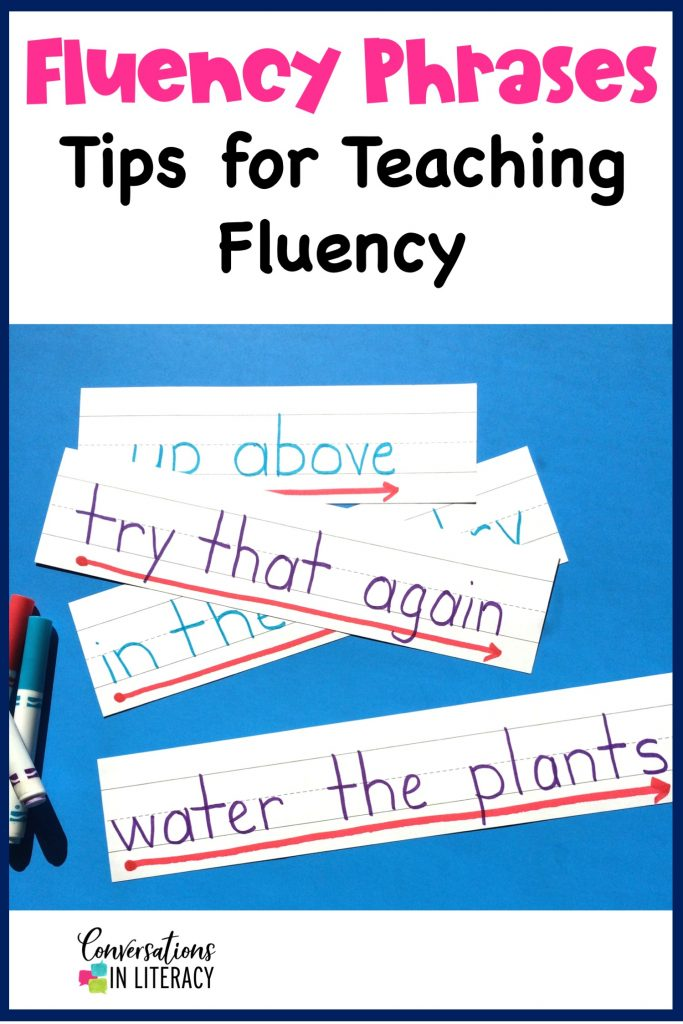 fluency phrases written on sentence strips with markers by Conversations in Literacy