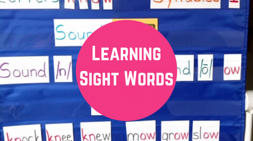 sight words on blue pocket chart by Conversations in Literacy