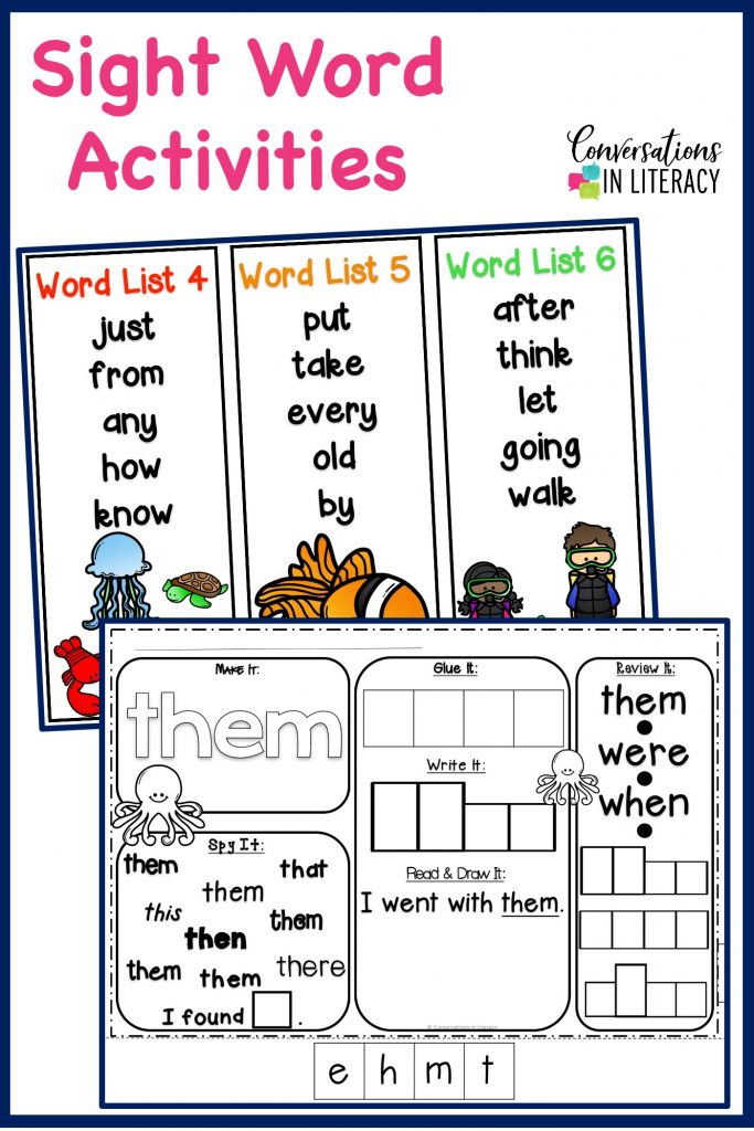 printable sight word worksheets and sight word lists by Conversations in Literacy