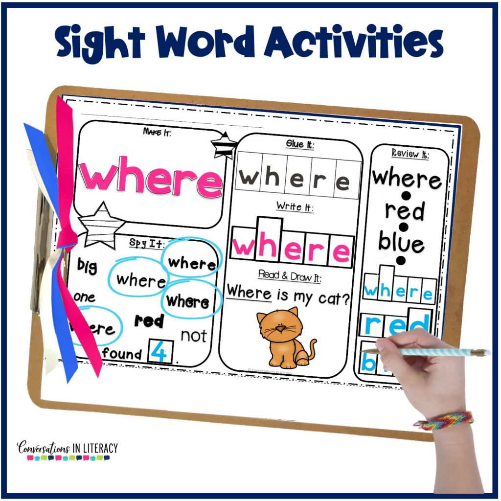 printable sight word worksheet on clipboard with hand and pencil by Conversations in Literacy