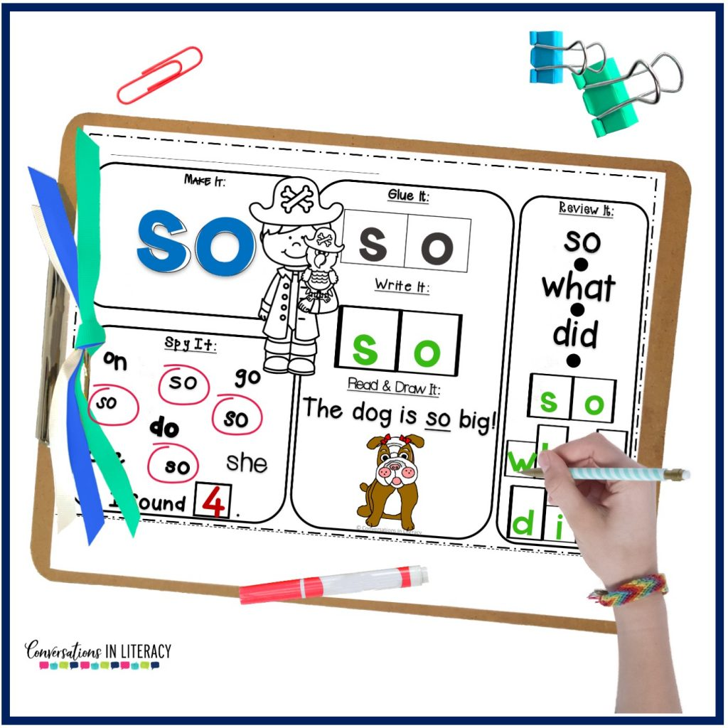 sight word printable worksheet with marker and hand by Conversations in Literacy