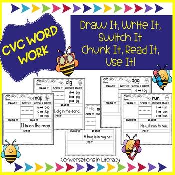CVC Word Work Worksheet Activities by Conversations in Literacy