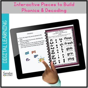 hand pointing at iPad with phonics skills by Conversations in Literacy