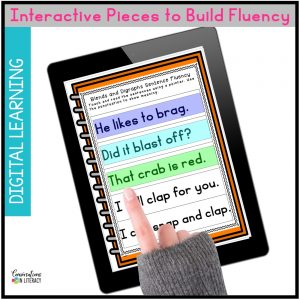 hand pointing to phonics activities on iPad by Conversations in Literacy
