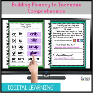 hand pointing at phonics activities on computer screen by Conversations in Literacy