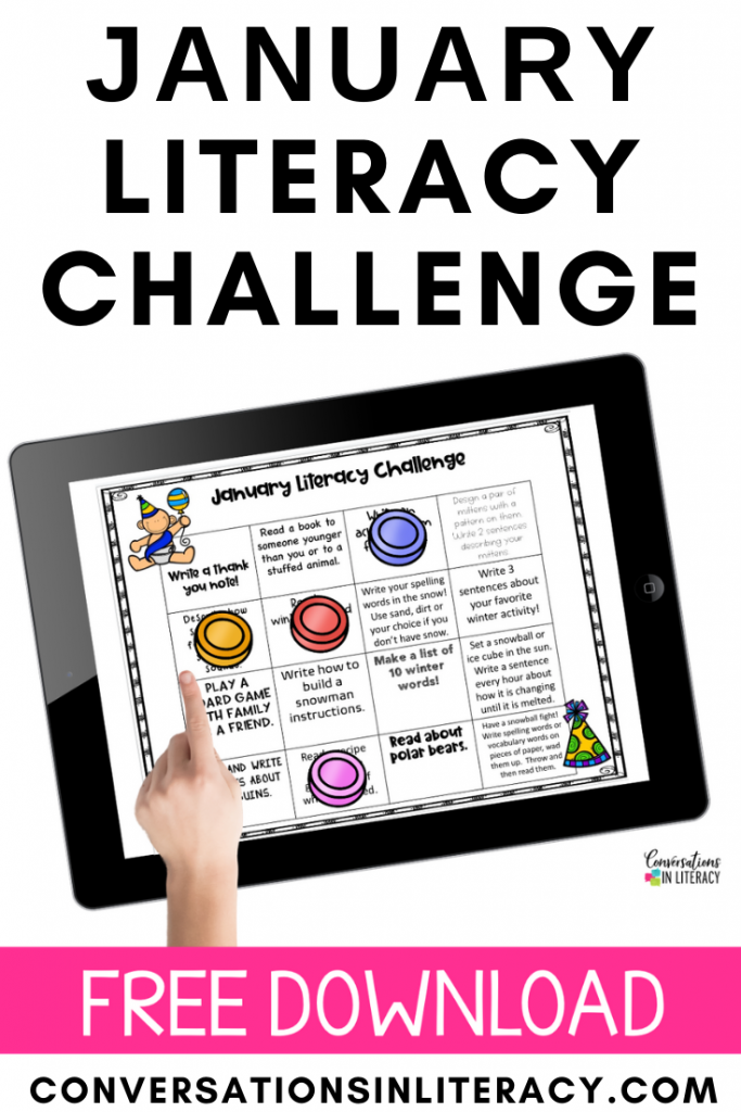 hand pointing at game pieces on free January Literacy Challenge by Conversations in Literacy