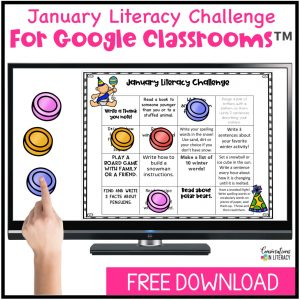hand pointing at game pieces on computer screen for free January Literacy Challenge by Conversations in Literacy