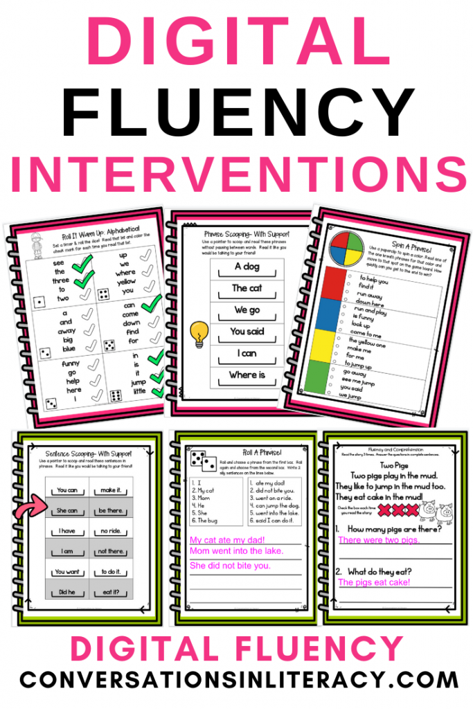 Fluency activities in notebooks by Conversations in Literacy