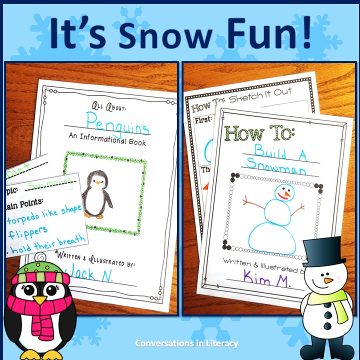 Penguin and Snowman writing activities by Conversations in Literacy