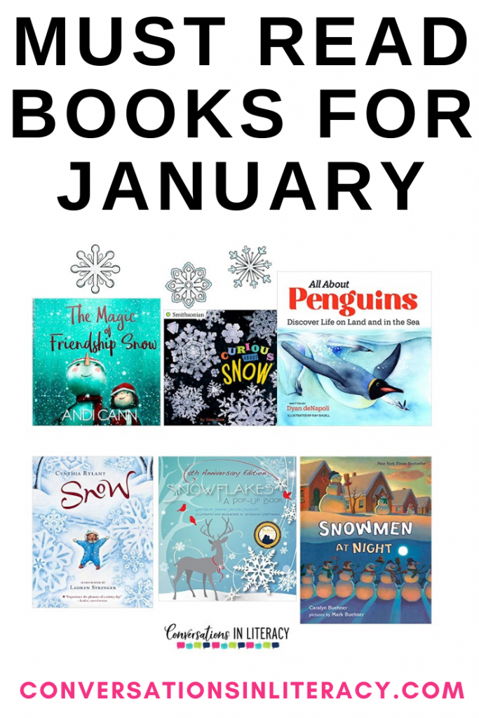 Collection of winter books for January by Conversations in Literacy