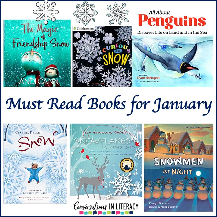 Collection of 6 winter books for January by Conversations in Literacy