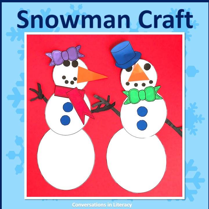 Man and woman snowman craft by Conversations in Literacy