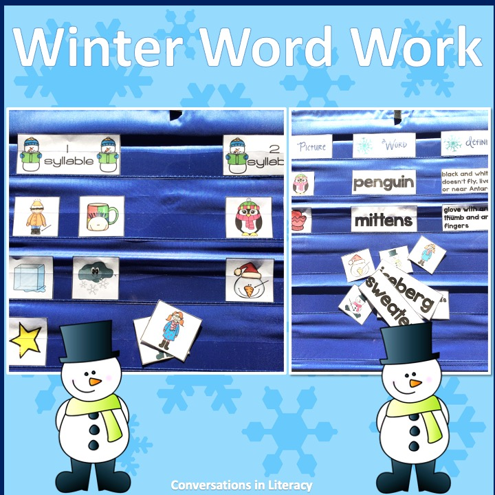 Winter words on blue pocket chart by Conversations in Literacy