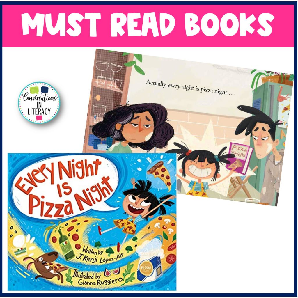 Every Night is Pizza Night book for February by Conversations in Literacy