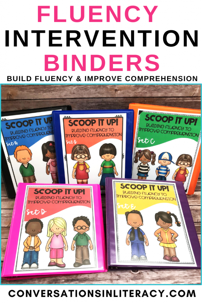 5 fluency binders in different colors by Conversations in Literacy