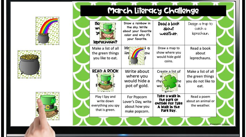 Finger pointing to March Literacy Challenge Freebie by Conversations in Literacy