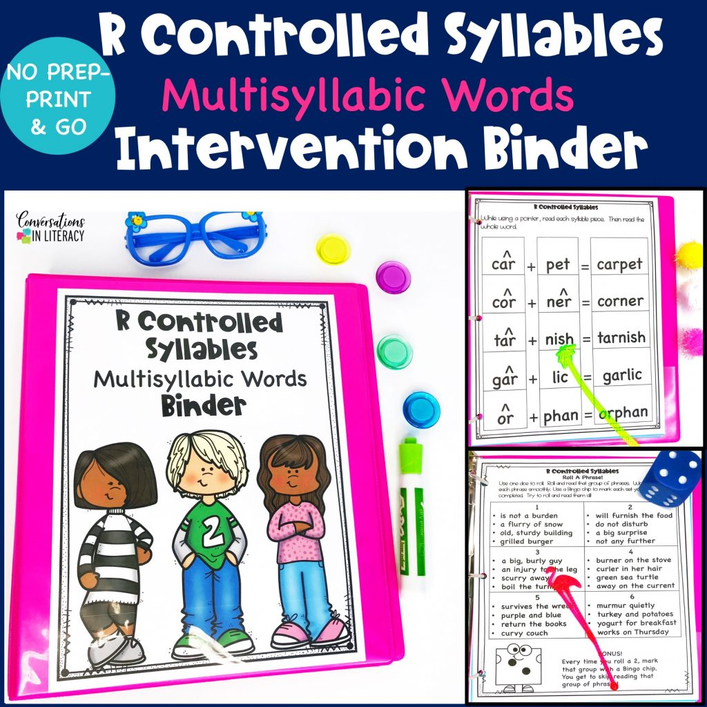 pink multisyllabic words notebook, blue glasses and colored buttons by Conversations in Literacy