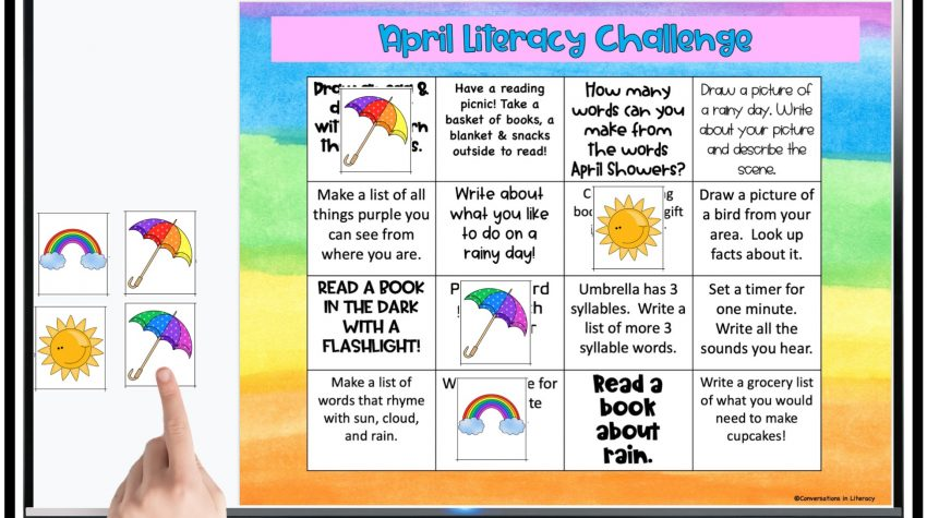 finger pointing to umbrella Bingo pieces for free Digital April literacy challenge by Conversations in Literacy