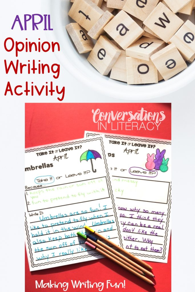 colored pencils and April writing activity on red background with bowl of scale tiles by Conversations in Literacy