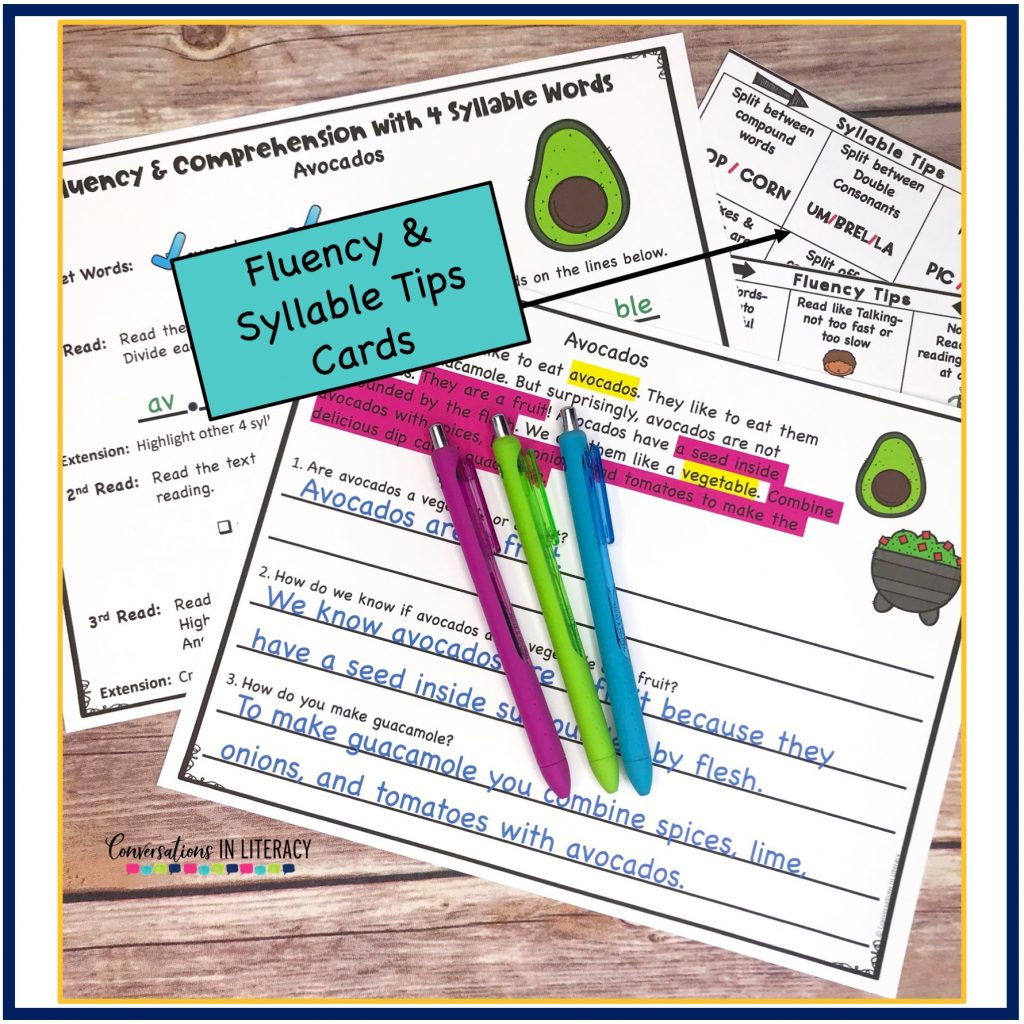 Test prep and Comprehension activities with pens on wooden background by Conversations in Literacy