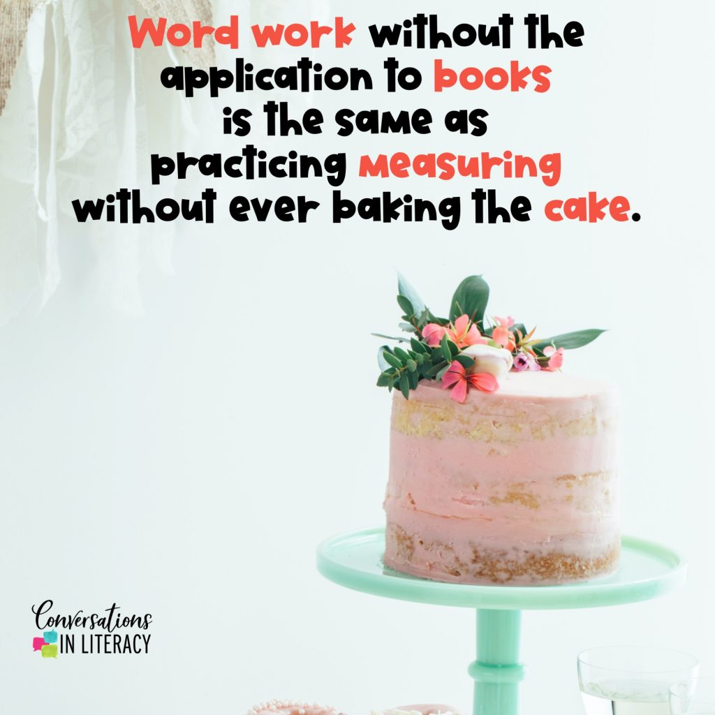 pink cake on green stand for teaching phonics and comprehension by Conversations in Literacy