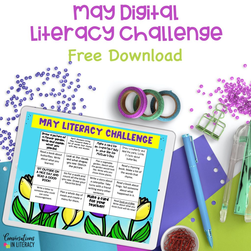 white iPad on purple, blue and green paper and a free literacy challenge activity by Conversations in Literacy