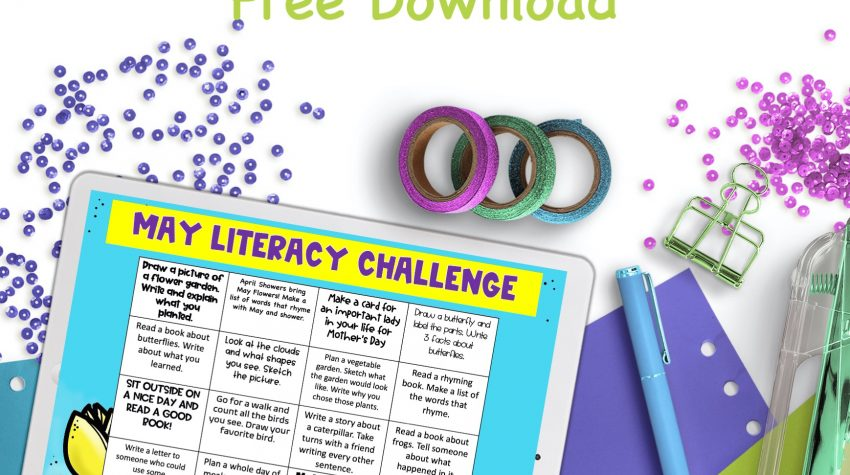 white iPad on blue, purple, and green paper with free literacy challenge by Conversations in Literacy