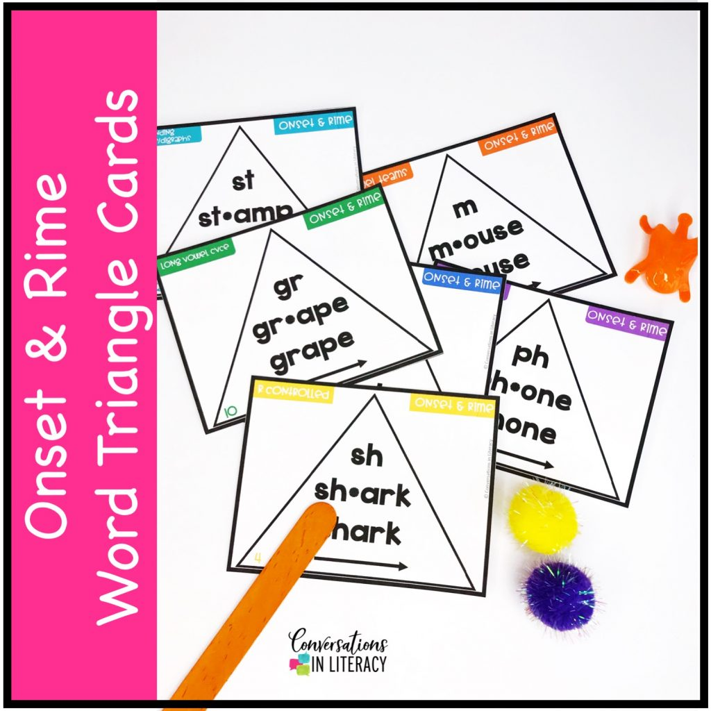 craft stick, plastic orange frog, pom poms and onset and rime task cards by Conversations in Literacy