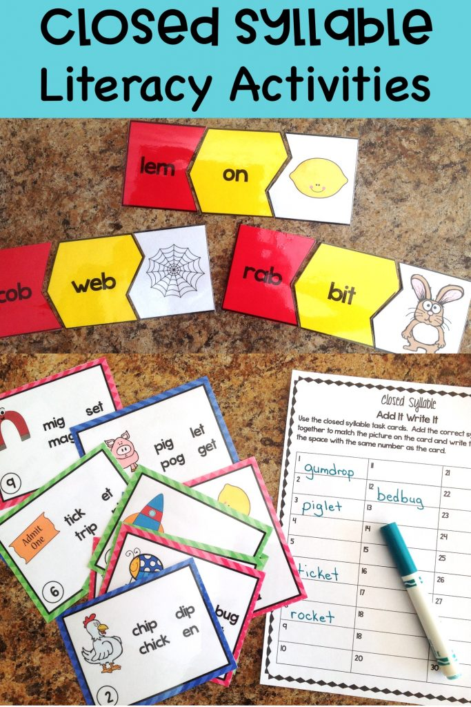 marker, task cards and word puzzles on counter by Conversations in Literacy