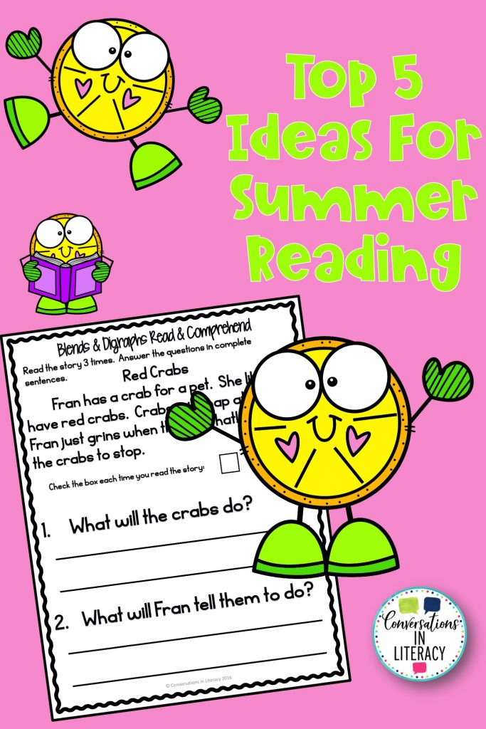 lemon clip art on pink background with reading comprehension text by Conversations in Literacy