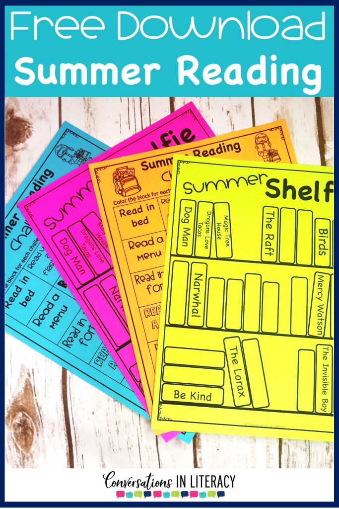 Free summer reading activities printed on colored paper to prevent summer slide by Conversations in Literacy