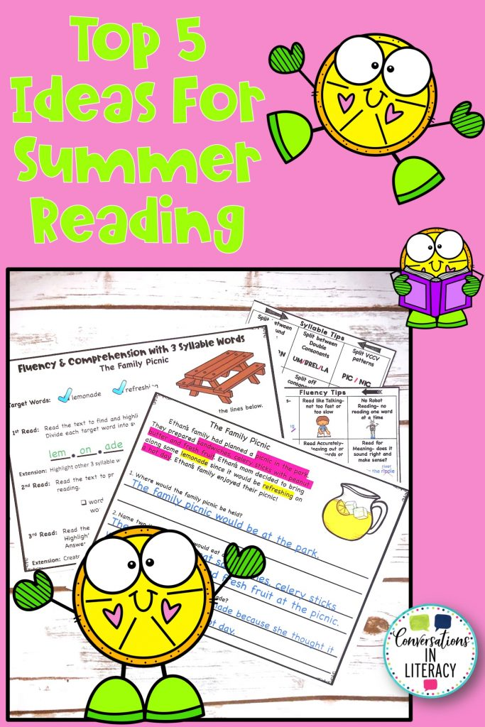 lemon clip art on pink background with fluency passages by Conversations in Literacy